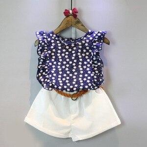 Free shipping  new summer girls floral sleeveless T-shirt shorts 2pcs suit +belt