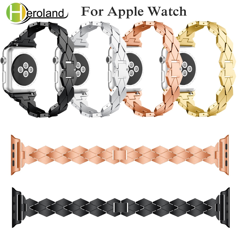 strap genuine leather bands for apple watch 38mm 42mm 40mm 44mm smart watches band for i watch series 5 4 3 2 1 women s bracelet Alloy Steel Bracelet for apple watch 5 band for i watch band series 1/2/3 /4/5 40mm 44mm 42mm 38mm strap smart accessories new
