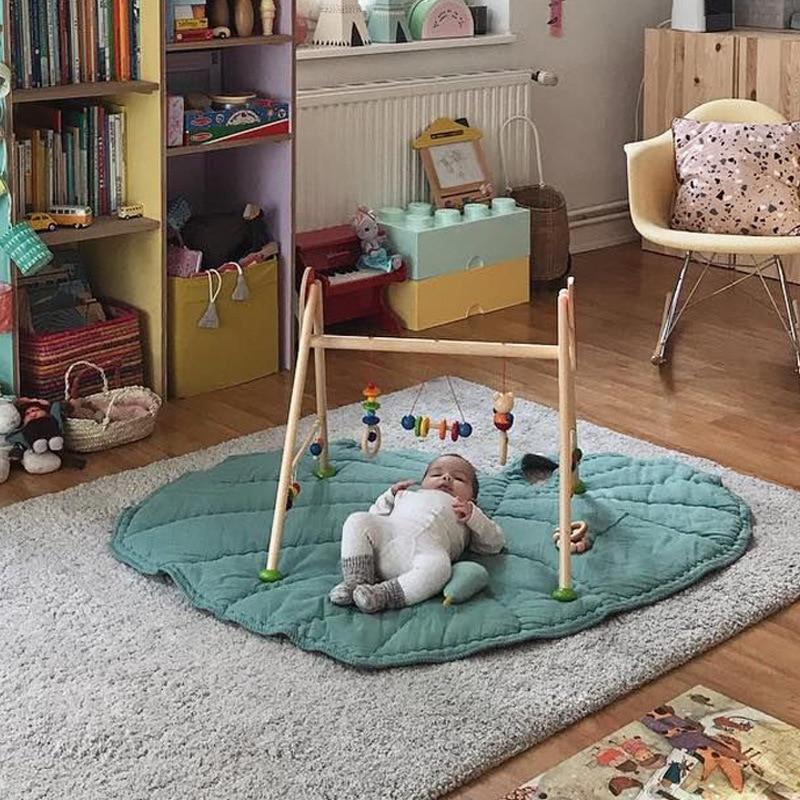 Детские игровые коврики с изображением листьев сердца, игровой коврик для ползания, одеяло, хлопковое постельное белье, спальный коврик для...