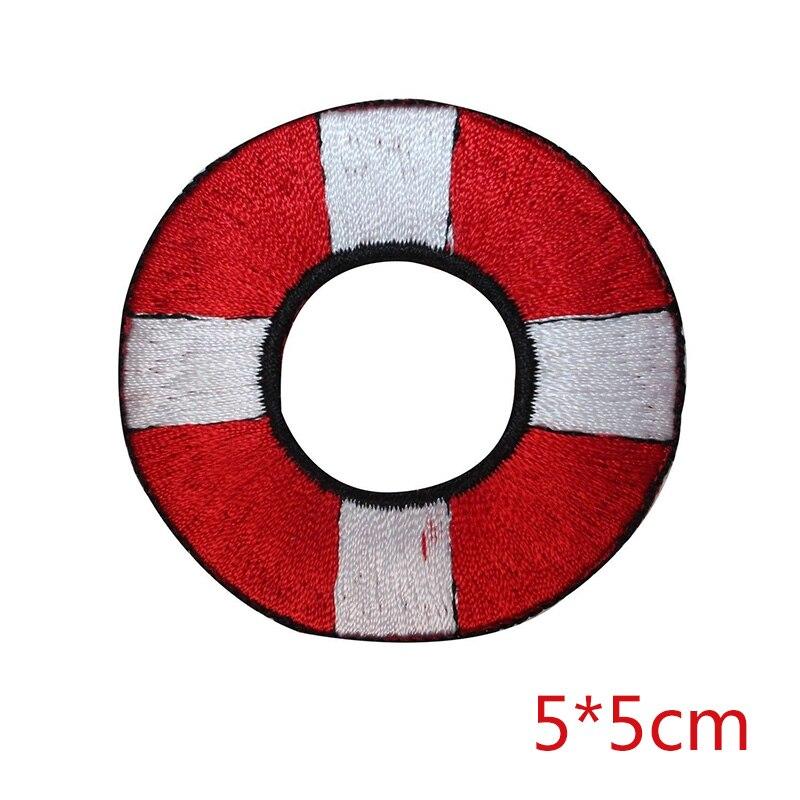 Parches de transferencia de calor bordados con anillo salvavidas de vida náutica personalizados