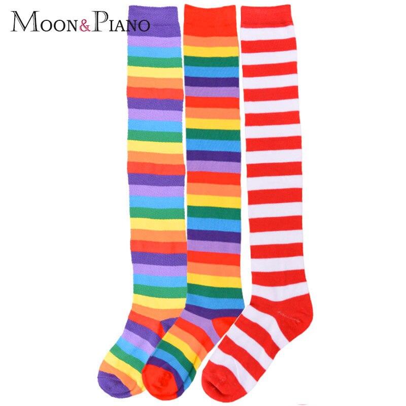 Европейский и американский тренд, радужные полоски, длинный абзац, большой размер, Длинные трубы, тонкие, выше колена, женские носки