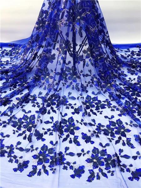 Tela de encaje africano azul real boda de alta calidad tela de encaje de tul africano 5 yardas flores 3 d bordado de tul de encaje tela