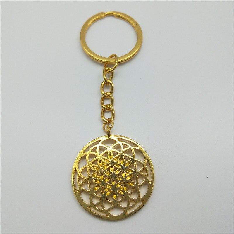 LLavero de semilla de la vida geométrico de Geometría Sagrada flor de la vida llavero y joyería de Graduación