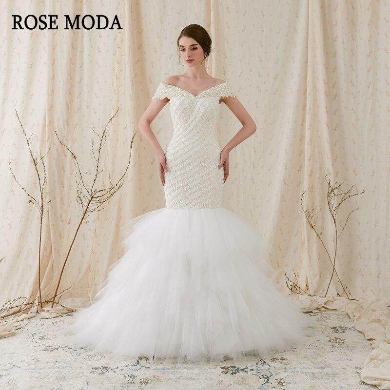 فستان زفاف حورية البحر من Rose Moda ، أكتاف عارية ، فستان زفاف أفريقي مع دانتيل لؤلؤي في الخلف