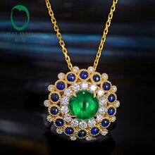 Caimao Natural Art Deco Cabochon Cut Emerald 18kt Yellow Gold Sapphire and Diamond Engagement Pendant for Women