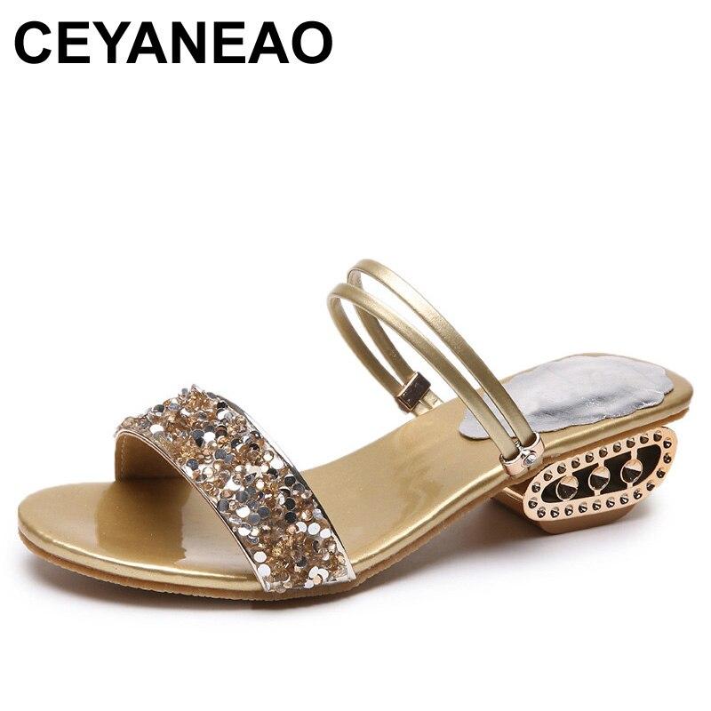 CEYANEAO 2019 sandalias de verano para mujer, zapatos de tacón alto; Zapatos de diseño de lujo para tacos cuadrados para mujer, sandalias con tacones para mujer