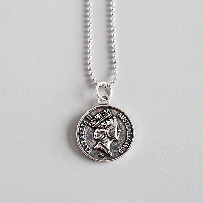 Collar de moneda de plata s925, colgante antiguo bohemio Vintage, retrato Hip-hop Japón Haraku Coker regalo a la novia Druzy gótico