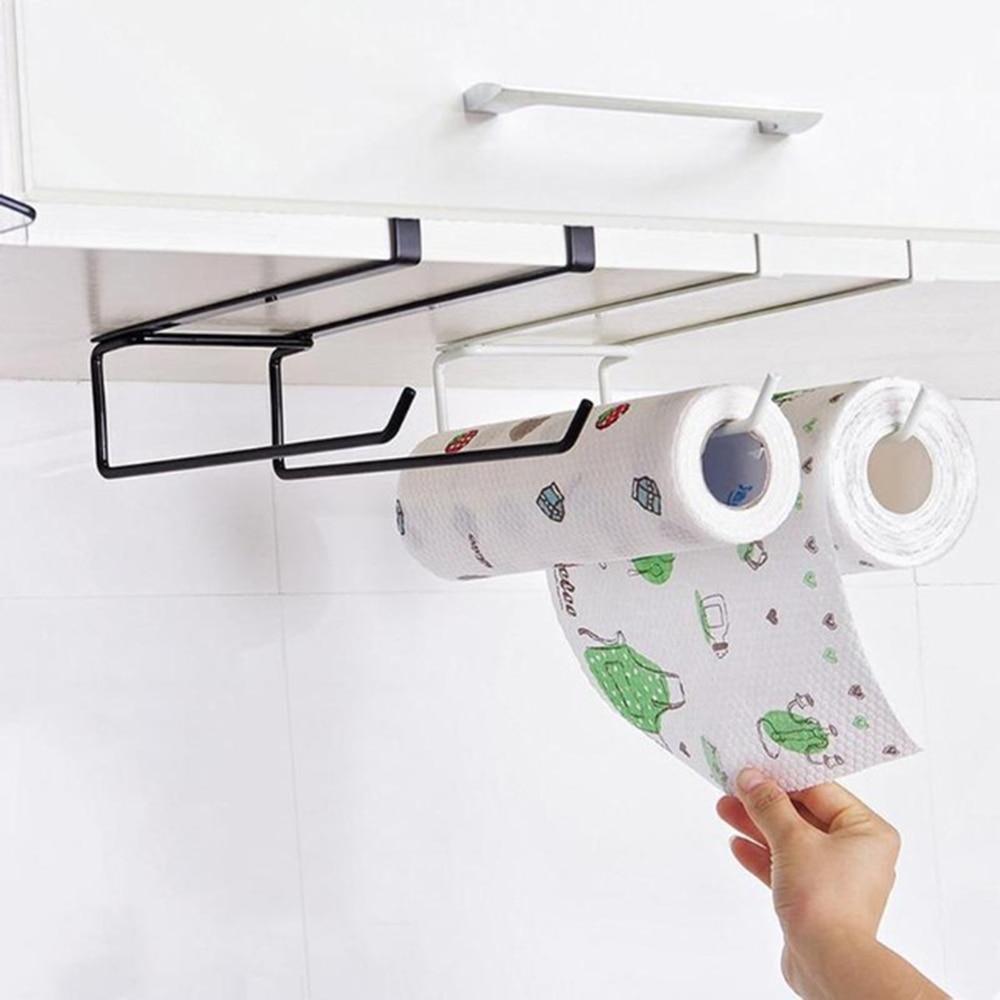 Kitchen Paper Holder Hanger Tissue Roll Towel Rack Bathroom Toilet Sink Door Hanging Organizer Storage Hook Holder