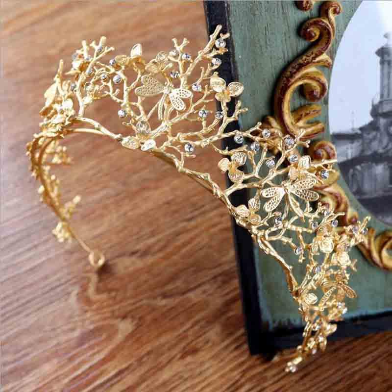 KMVEXO Vintage Baroque Wedding Bridal Hair Accessories Bridesmaid Dragonfly Women Girls Gold Crystal Tiara Crown Headbands