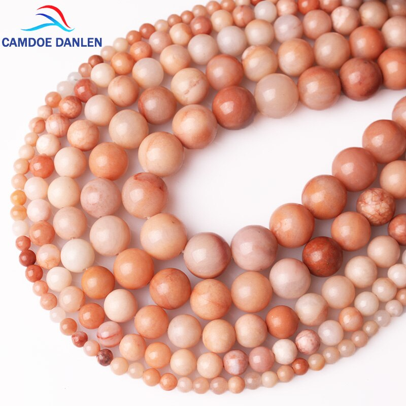 CAMDOE DANLEN 천연석 비즈 핑크 Aventurine Jader Loose Beads 4 6 8 10 12 MM Fit DIY Charms Beads For Jewelry Making