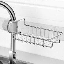 Soporte de fregadero de cocina para esponjas, depuradores, jabón, cocina, baño agua accesorios para grifos estante de almacenamiento de acero inoxidable