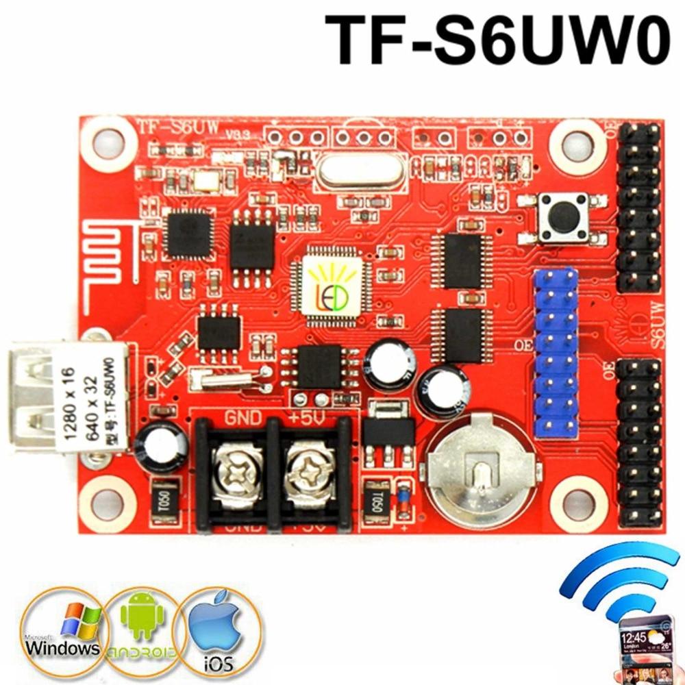 Envío Gratis TF-S6UW0 controlador de pantalla de señal de lintel led inalámbrico wifi 640*32 píxeles P10 ,P4.75,p7.62,p16 tarjeta de control LED