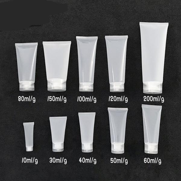 300 unids/lote 10/30/40/50/80/100/120/150/200 g/ML botella de plástico suave tubo de crema cosmética limpiador Facial loción exprimidor botellas