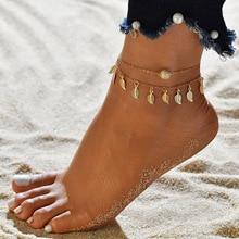 Bohemio estilo folk personalidad moda colgante de hoja de árbol tobillera mujer playa vacaciones de playa Simple pulsera de tobillo Bisutería