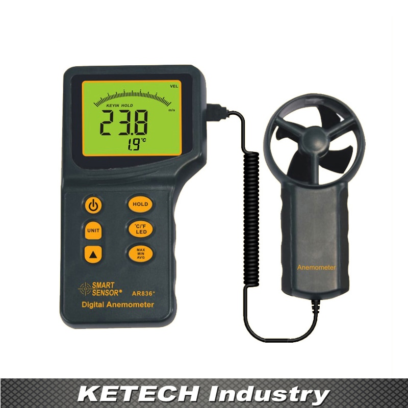 Medidor de Velocidade Handheld Digital Anemômetro Vento 0.345 m – s Ar836