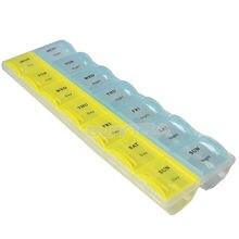7 nouvelle arrivée Portable 7 jours 14 fentes boîte de rangement de pilules organisateur de médecine hebdomadaire AM/PM détacher étui