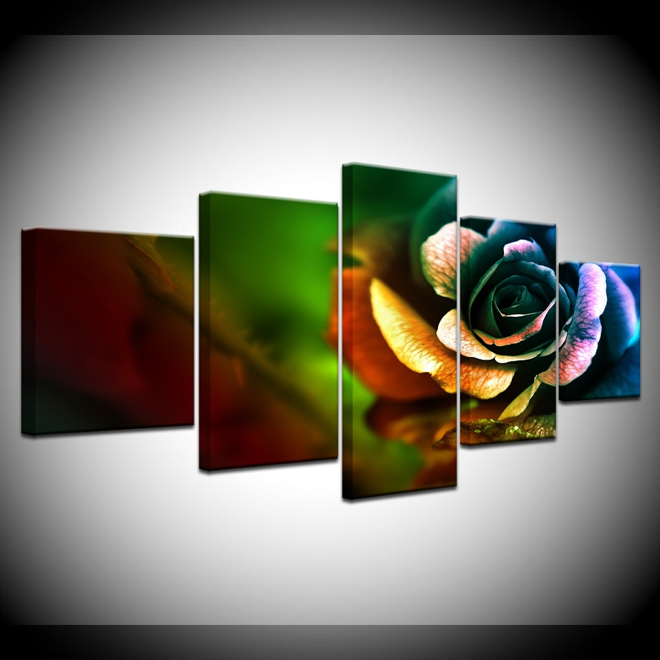 Canvas Painting Colorful Roses DIY Wall Art Pictures 5 Pieces Modular Wallpapers  Poster Framework Print for living room Decor