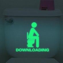 Autocollants muraux étanches et créatifs   Autocollants de toilettes lumineux et éblouissants, décoration de porte de WC