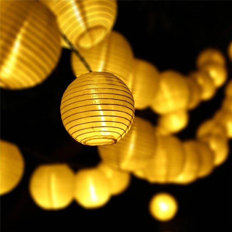 Lanterne décoration 30 LED solaire chaîne lumières Multi couleur, 6M étanche global boule chaîne corde extérieure fée vacances éclairage