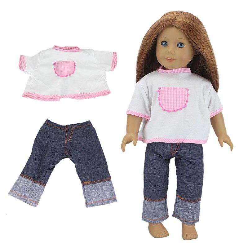 2 pcs Em 1, Camisa + Calça Jeans Terno Para Boneca American Girl 18 Polegada Boneca