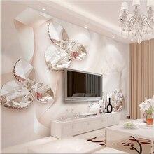 Beibehang-papier peint photo personnalisé   stickers muraux, ruban rose, en cristal, feuilles de cygne, 3d, mur de télévision 3d