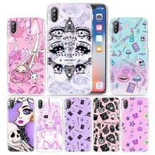 Girly Pastell Hexe Goth Fall für iPhone XS Max XR X 10 7 7S 8 6 6S Plus 5S SE 5 4S 4 5C 11 Klar Hartplastik Telefon Abdeckung Coque