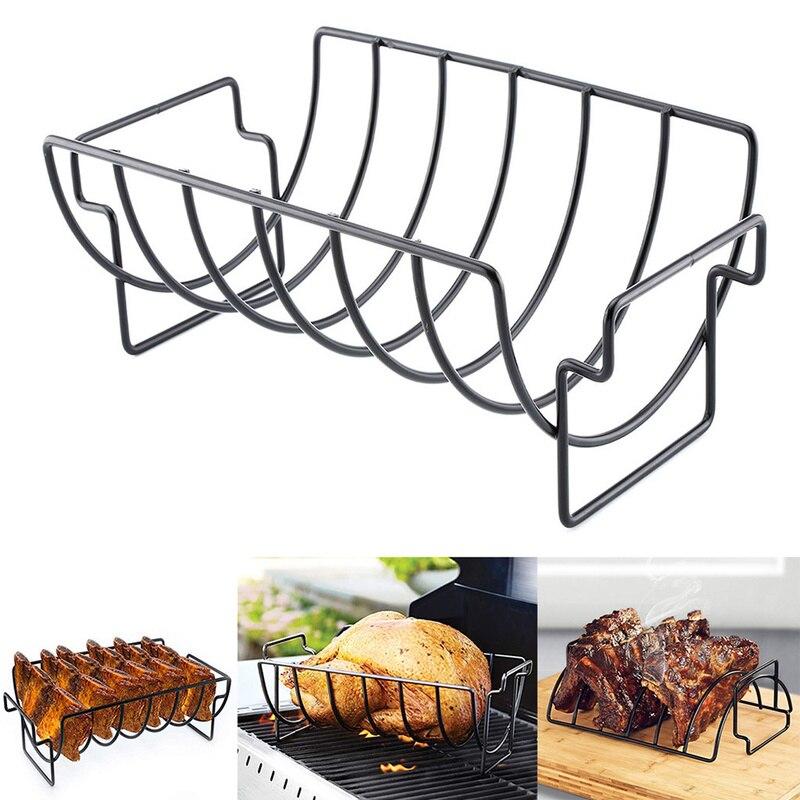 Nicht-Stick Edelstahl Steak Rack Stehen Inhaber Rösten Rippe Rotisserie Küche Zubehör Grillen BBQ Werkzeuge Grill Zeug