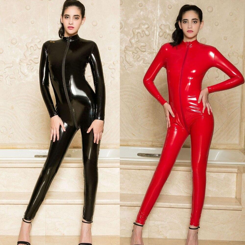 Wetlook pvc catsuit zip aberto virilha manga longa bodysuit macacão das mulheres conjunto corpo mujer quente sexy preto bodysuits ursinhos
