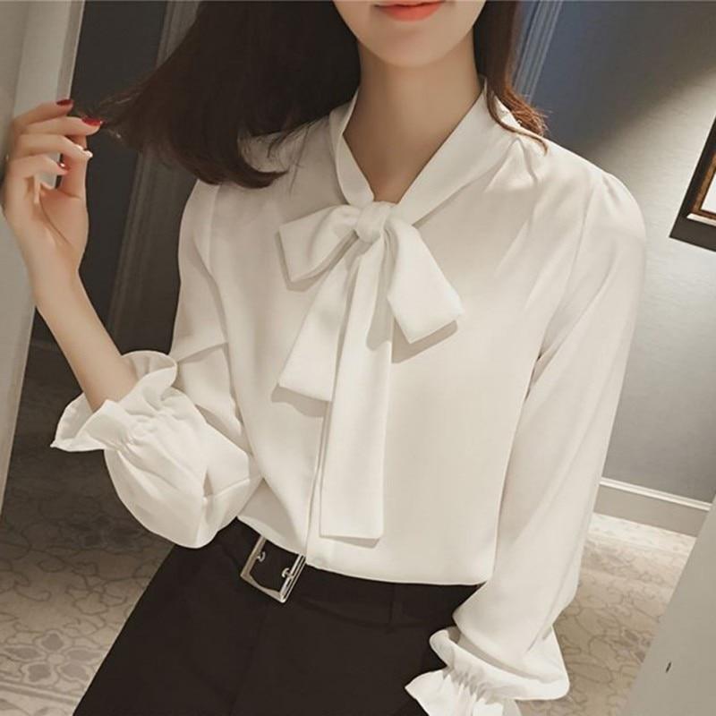Women Chiffon Bow Blouse Slim Shirt Elegant Office Ladies Long Sleeve Fashion Colthes