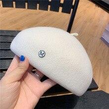 Casquette béret en laine blanche   Chapeau de peintre décontracté pour hommes et femmes