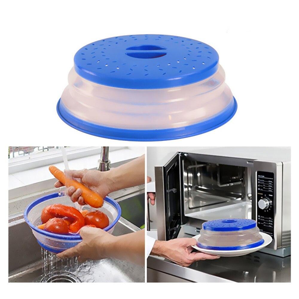Складной чехол для микроволновой печи силиконовый дуршлаг для фруктов и овощей сетчатый фильтр корзина для мытья складной Блюдо для микроволновой печи крышка кухонные инструменты