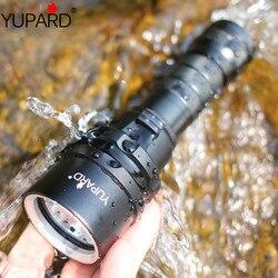 Yupard XM-L2 led t6 led mergulho diver underwear à prova dwaterproof água luz amarela lanterna lâmpada 18650 bateria de acampamento esportes ao ar livre