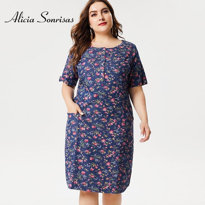 Plus Size 4XL 5XL 6XL Summer Dress New 2019 Long Floral Printed O Neck Short Sleeve OL Blue Cotton Dresses ZPZ9105