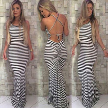 Frauen Sommer Vintage Boho Striped Lange Maxi Abend Party Strand Kleid Backless Strap Sommerkleid Frauen kleidung
