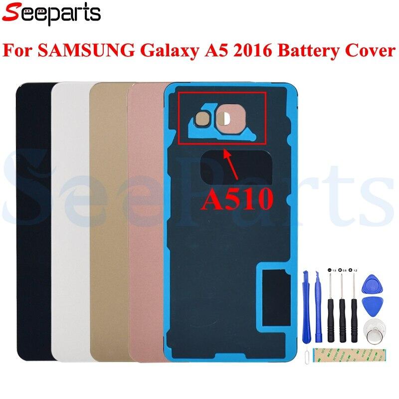 "Para SAMSUNG Galaxy A5 2016 cubierta de batería A510 vidrio trasero A510F puerta trasera funda carcasa para 5,2 ""batería SAMSUNG A5 2016"