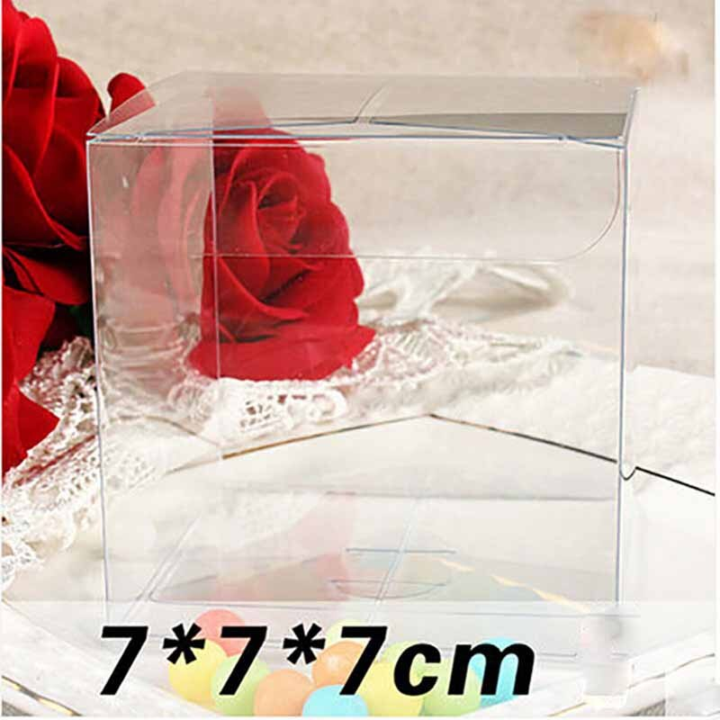 1lot=10pcs 7*7*7cm pvc package Box different sizes square shape pvc package Box Plastic Packaging Box For Souvenir/Candy/wedding