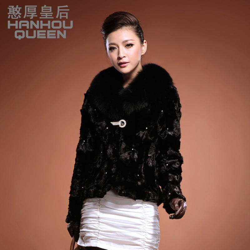 HOT new Plus size Ladies' mink coat,Elegant slim women's mink fur coat overcoat fox fur collar fight mink fur jacket FQ062