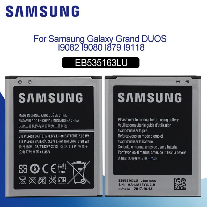 SAMSUNG оригинальный аккумулятор для мобильного телефона 2100 мАч EB535163LU для Samsung I9082 Galaxy Grand DUOS I9080 I879 I9118 Neo + i9168 i9060