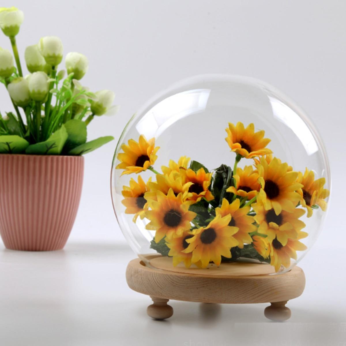Forma de bola de vidro globo cloche cúpula frasco bell exibição vaso base de madeira para luz led flor imortal rosa casamento decoração casa