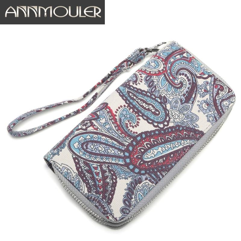 Annmouler Large Capacity Women Wallets Canvas Clutch Bag Double Zipper Money Bag Floral Card Holders Brand Quality Long Purse
