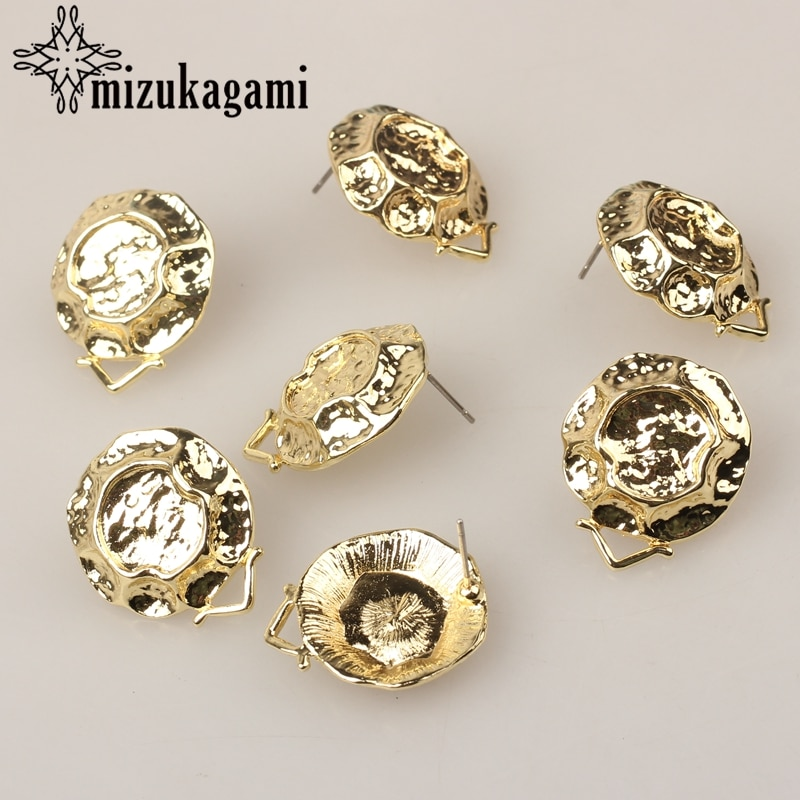 AliExpress - Zinc Alloy Stud Earrings Golden 3D Round Exaggerated Base Earrings Connectors 6pcs/lot For DIY Earrings Making Accessories