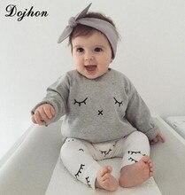 Ensemble de vêtements 2 pièces pour bébés   En coton, avec cils, pour enfants, chemise de sommeil, pour garçons et filles, t-shirt et pantalons