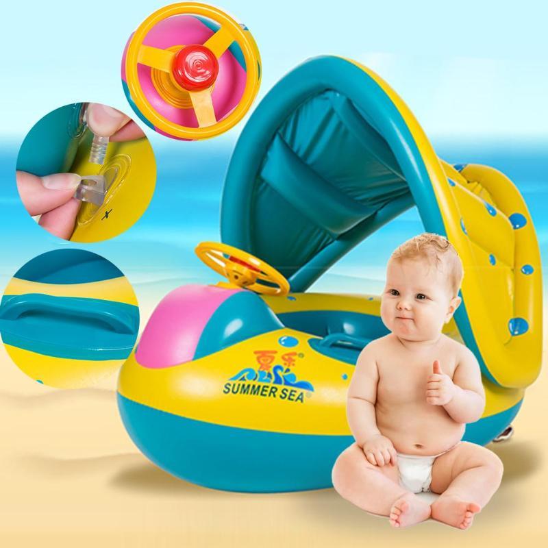 Baby Inflatable Swimming Ring Kids Summer Swimming Pool Swan Swim Float Water Fun Pool Toys Swim Ring Seat Boat Sport for 3-6Y