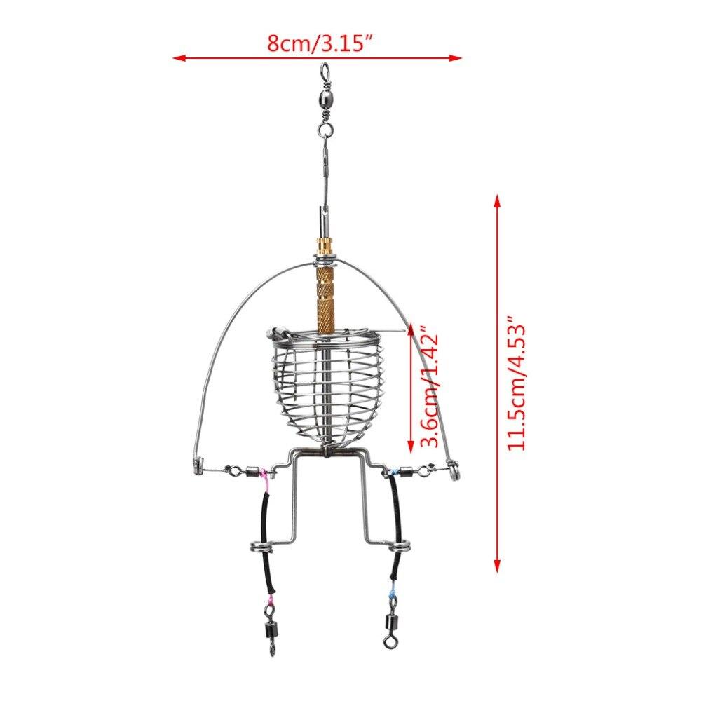 Купить с кэшбэком Fishing Feeder Automatic Tackle Multi Functional Launcher Trap Spring Cage Hook