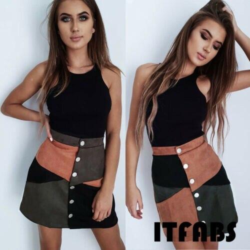 arrival Women High Waist Suede Button Short Mini Skirts Patchwork A-Line Casual Mini Skirt