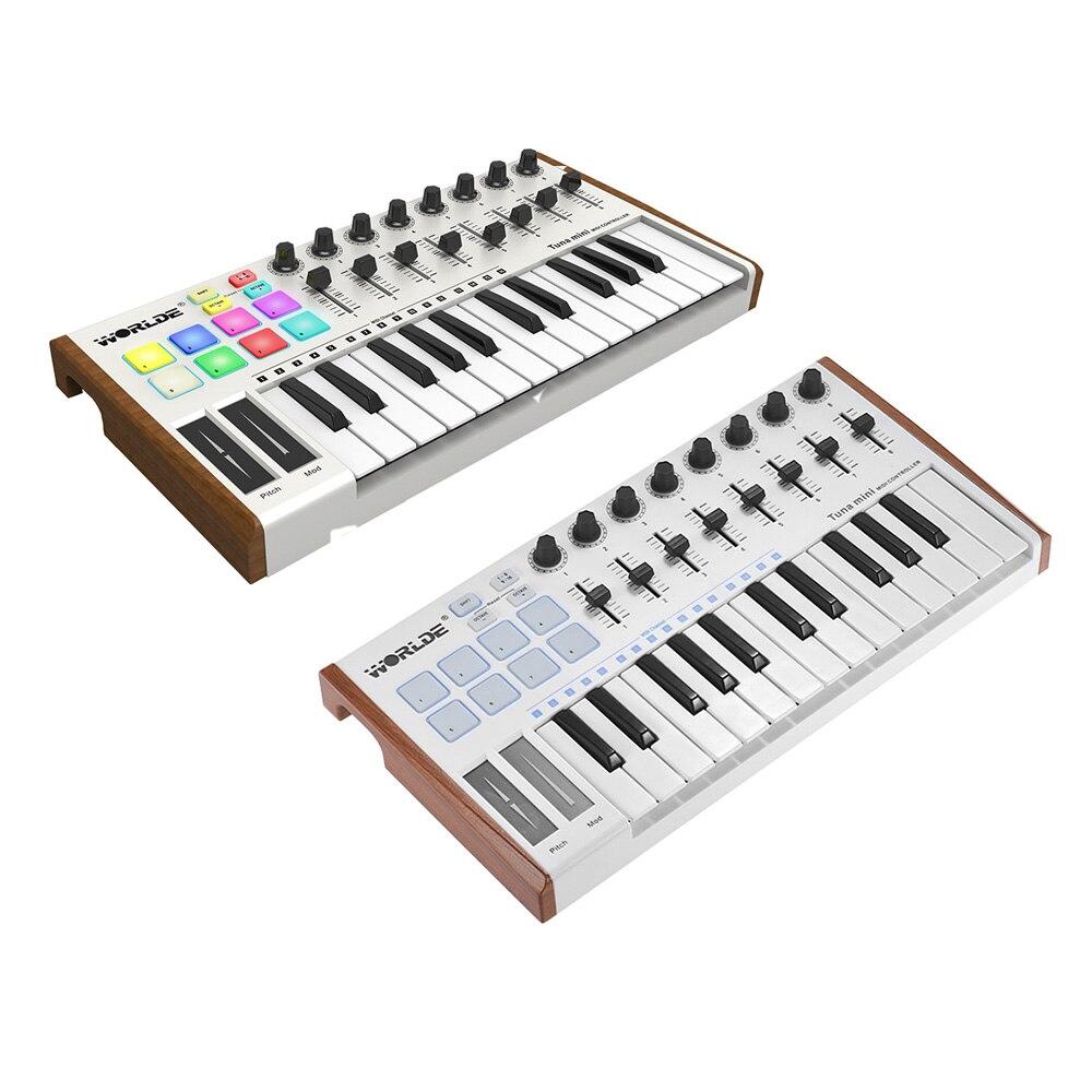 25-key mini ultra-portátil usb midi controlador de teclado midi 8 rgb retroiluminado gatilho almofadas com 6.35mm pedal jack