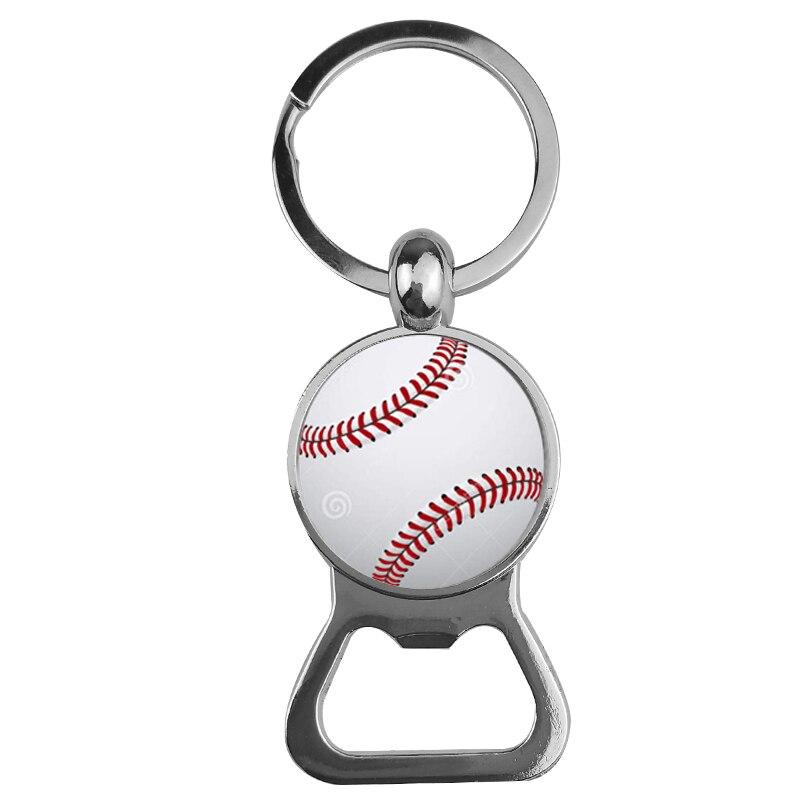 SUTEYI Football Key Chain Sporty Bottle Opener Key Holder Glass Dome Baseball Basketball Tennis Golf Picture Women Men Jewelry