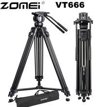 Zomei VT666 trépied vidéo caméra professionnelle avec tête fluide panoramique 360 degrés pour caméscope DSLR vidéo, DV, photographie