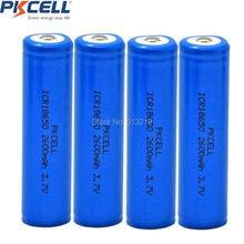 4 pièces x PKCELL 18650 2600mAh 3.7v Li-ion batteria ICR 18650 Batteries rechargeables au Lithium bouton Top pour stylo laser 18650