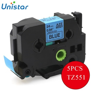 UNISTAR 5PCS Compatible for Brother P-touch TZ Tapes 24mm Black on Blue TZe-551 TZe551 TZe 551 labels for Brother P touch